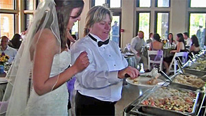 Catering Staff Assisting Bride with Wedding Buffet 02