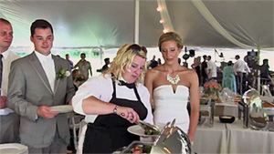 Catering Staff Assisting Bride with Wedding Buffet 03